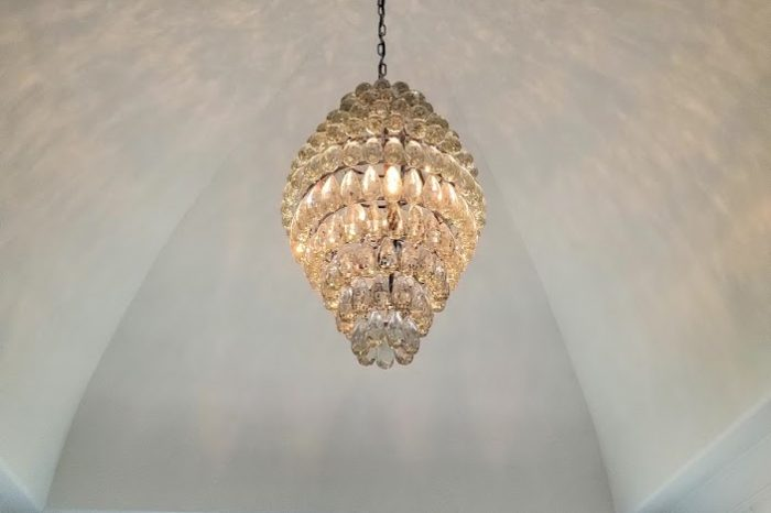 Master Bathroom Chandelier - Egg Crystal balls