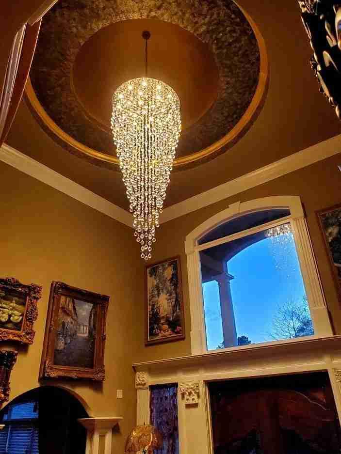 12' long hanging crystal ball
